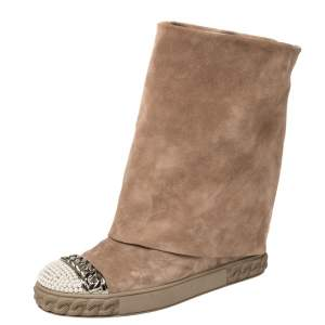 Casadei Beige Suede Pearl And Chain Cap Toe Fold-over Wedge Boots Size 38