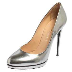 Casadei Silver Patent Leather Pumps Size 38