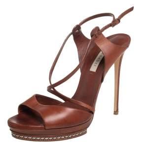 Casadei Brown Leather Platform Sandals Size 38