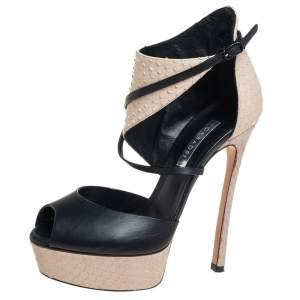 Casadei Black/Beige Python Embossed And  Leather Ankle Strap Sandals Size 35