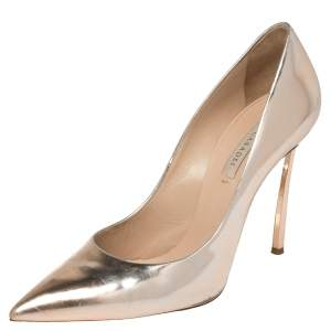 Casadei Rose Gold Foil Leather Pointed Toe Pumps Size 40