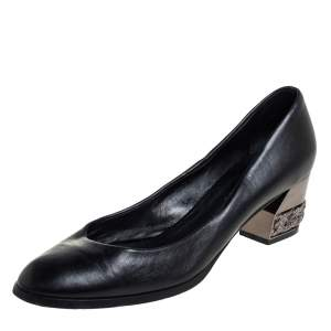 Casadei Black Leather Chain Embellished Block Heel  Pumps Size 40