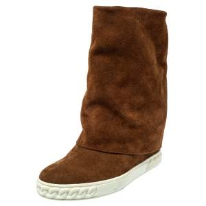 Casadei Brown Suede Wedge Ankle Boots  Size 37.5