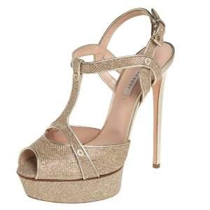 Casadei Metallic Golden Gliiter And Lame Fabric Taglia T-Strap Peep Toe Platform Sandals Size 40
