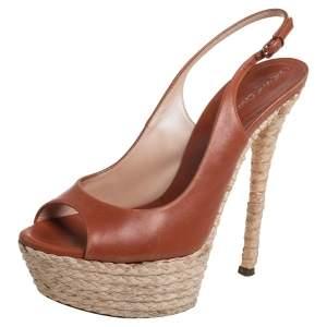 Casadei Brown Leather Peep Toe Platform Slingback Sandals Size 37