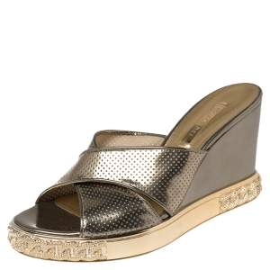 Casadei Metallic Bronze Perforated Leather Wedge Slide Sandals Size 38