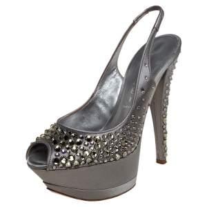Casadei Grey Satin Crystal Embellished Platform Slingback Sandals Size 35