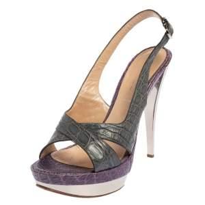Casadei Grey/Purple Croc Embossed Leather Cross Strap Platform Sandals Size 40