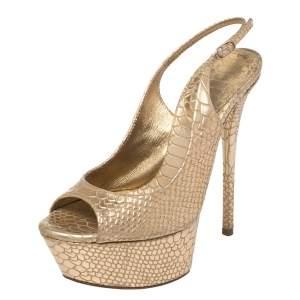 Casadei Gold Python Embossed Slingback Peep Toe Platform Sandals Size 35