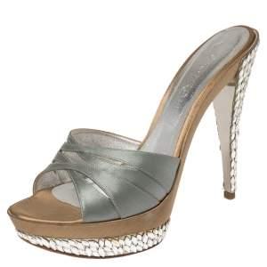 Casadei Grey Satin Crystal Embellished Platform Open Toe Slide Sandals Size 40