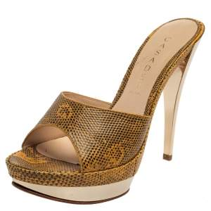 Casadei Yellow/Brown Lizard Embossed Leather Sandals Size 40