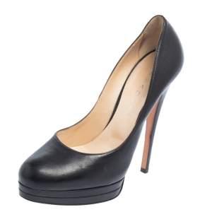 Casadei Black Leather Round Toe Platform Pumps Size 38.5