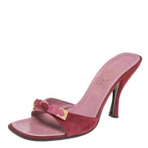 Casadei Burgundy/Pink Suede Slide Bow Sandals Size 37.5