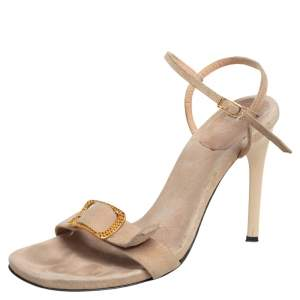 Casadei Beige Suede Buckle Detail Open Toe Ankle Strap Sandals Size 37.5