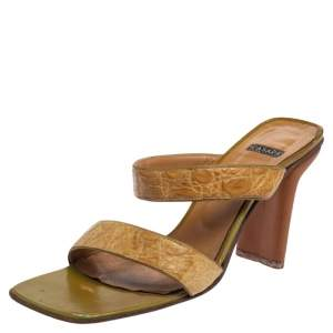 Casadei Beige Croc Embossed Leather Square Toe Slide Sandals Size 37