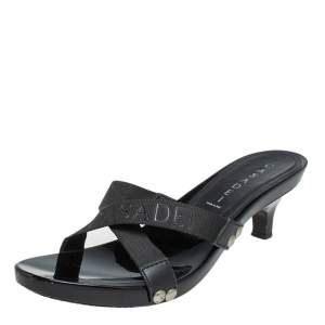 Casadei Black Fabric Studded Slide Sandals Size 38