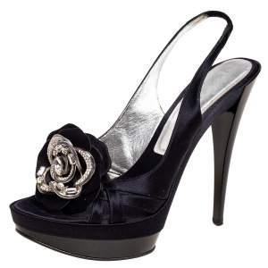 Casadei Black Satin Crystal Embellished Slingback Sandals Size 39