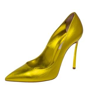 Casadei Metallic Yellow Leather Pointed Toe Pumps Size 40