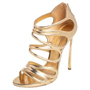Casadei Gold Leather Strappy Open Toe Ankle Strap Sandals Size 38