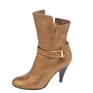 Casadei Gold Leather Ankle Length Boots Size 36