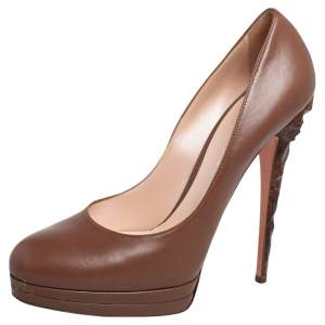 Casadei Brown Leather Sculpted Heel Platform Pumps Size 40