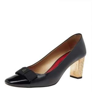 CH Carolina Herrera  Black Patent And Leather Bow Pumps Size 39