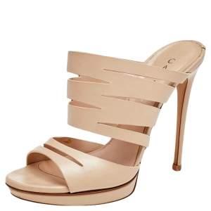 Casadei Beige Leather Slide Sandals Size 36.5