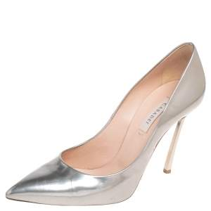 Casadei Silver Leather Blade Pointed Toe Pumps Size 37