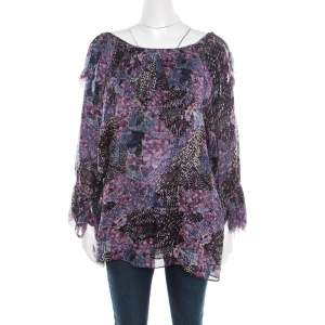 Catherine Malandrino Multicolor Printed Silk Frayed Neck Detail Long Sleeve Blouse S