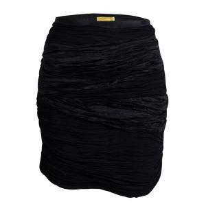 Catherine Malandrino Black Crinkled Silk Mini Skirt M