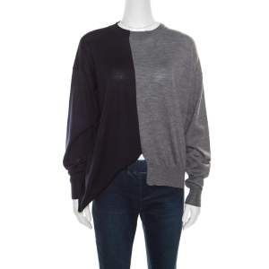 Celine Navy Blue and Grey Half and Half Sweater S