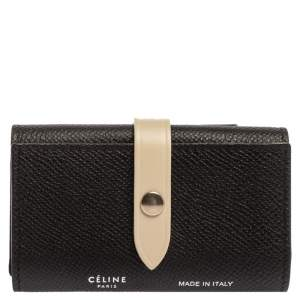 Celine Black/Ivory Grained Leather Strap Key Case
