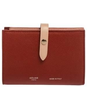 Celine Red/Light Pink Grained Leather Multifunction Strap Wallet