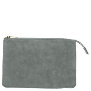 Celine Grey Suede Trio Zip Clutch