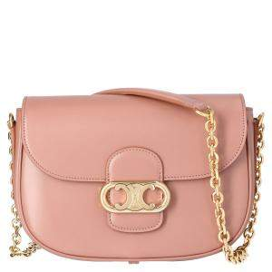 Celine Light Pink Leather Medium Chain Maillon Triomphe Shoulder Bag