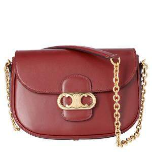 Celine Brown/Dark Brown Leather Medium Chain Maillon Triomphe Bag