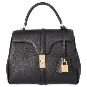 Celine Black Satinated Calfskin Leather Small 16 Bag
