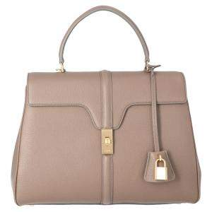 Celine Light Brown Satinated Calfskin Leather 16 Medium Bag