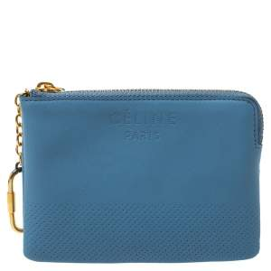 Celine Blue Perforated Leather Solo Coin Purse