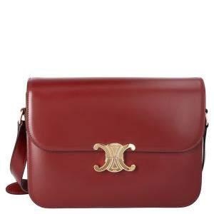 Celine Burgandy Leather Medium Triomphe Bag