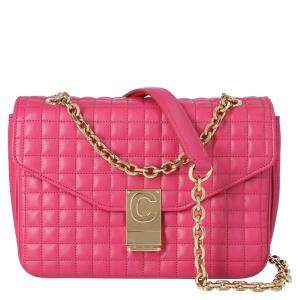 Celine Pink Quilted Calfskin Leather Medium C Shoulder Bag