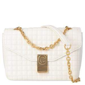 Celine White Quilted Calfskin Leather Medium C Shoulder Bag
