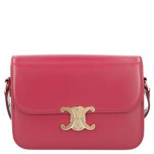 Celine Red Leather Medium Triomphe Shoulder Bag
