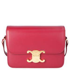Celine Red Leather Teen Triomphe Shoulder Bag