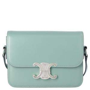 Celine Green Leather Teen Triomphe Shoulder Bag