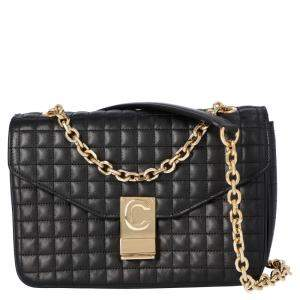 Celine Black Quilted Leather Medium C Shoulder Bag