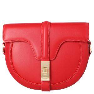 Celine Red Calfskin Leather Small Besace 16 Bag