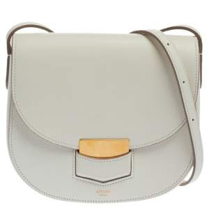 Celine White Leather Small Trotteur Crossbody Bag