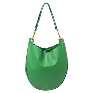 Celine Green Leather Trotteur Hobo