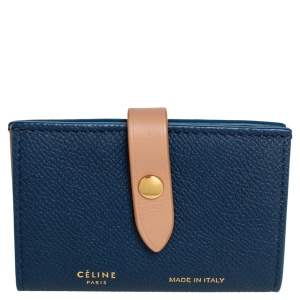 Celine Blue/Beige Leather Flap Card Holder